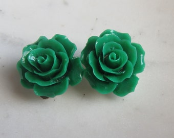 Green Rose Clip On Earrings,  Green Roses, Clip on Earrings, Non Pierced Earrings, Under 10, Wedding Jewelry,