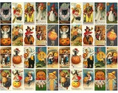 Halloween Digital Collage Sheet - 40 Vintage Halloween Images Rectangle Size, Jewelry, Magnets, Cards, Craft Projects, Scrapbooking