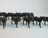 Herd of Vintage Draft Mules Equine Horse Equestrian Toys Brown