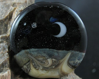 Crescent Moon Full Moon Bead Glass Lampwork 3D Double Sided