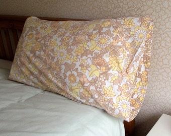 Vintage Single Pillowcase - Cream and Lemon Floral Pattern