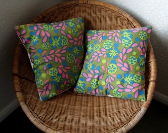 Pair of Funky 70s Floral Vintage Pillow Slips - Cushion Covers - Pink and Blue Flowers on a Green Background