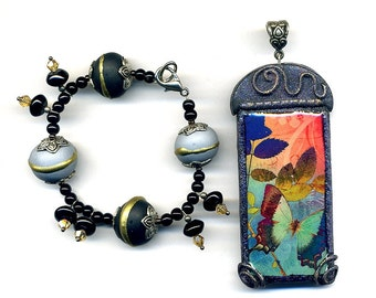Clearance SALE - 1 Pendant and 1bracelet of polymer clay