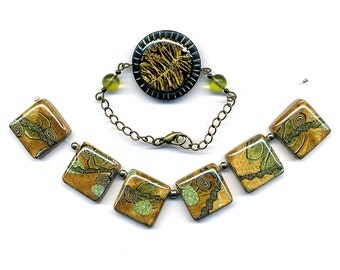 Clearance SALE - 1 set for necklace and 1bracelet of polymer clay