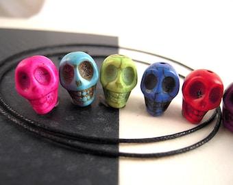 30 Colorful Mix Skull Beads, 11x12mm, 2 FULL Circlets, 8 Colors, Stone Skulls, Howlite Skull Beads V20