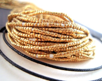 TINY Ethiopian Metal Heishi Beads, African Metal Beads, FULL Strand, 1mm Brass Beads, African Brass Heishi Beads, Brass Spacer Beads, HO06