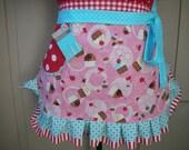 Cupcake Aprons - Pink Womens Cupcake Aprons - Monogramed Half Aprons - Cupcake and Cherries Apron - Handmade Aprons - Annies Attic Aprons