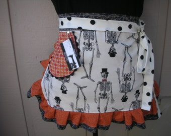 Womens Aprons - Skelton Aprons - Orange  Aprons - Black Aprons - Skulls Apron - Annies Attic Aprons - Tatoo Aprons - Tatoo Parlour Aprons
