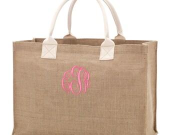 Monogrammed Burlap Tote Bag | Personalized Burlap Tote | Burlap Market Tote | Monogrammed Teacher Tote | Personalized Bridesmaids Tote Bag