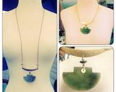 Serpentine Chinese Ax Gemstone Statement Necklace - brass chain choker - Dark Green Jade Pendant Necklace