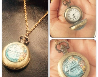"San Francisco Map Glass Art watch Necklace - Brass Pocket Watch Necklace - 1.75"" round - 30 inch long- Real working watch - large watch"