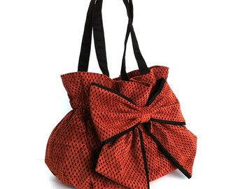 Bow purse , Ultra suede handmade bow handbag in rust and black , Top handle purse , Vegan fashion bag , Fabric bag ,  Wommen fabric purse