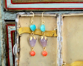 Amethyst and Coral and Aqua Gemstone Drop and Dangle Earrings