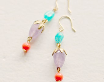Amethyst, Coral and Aqua Gemstone Drop and Dangle Earrings
