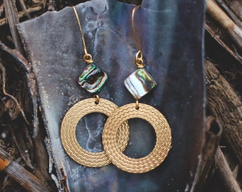 Charleston Earrings . Basketweave and Abalone
