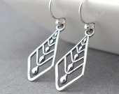 Sterling Silver Earrings Dangle Silver Drop Earrings Geometric Jewelry Gift for Her Under 50 Modern Edge - Raining Tears