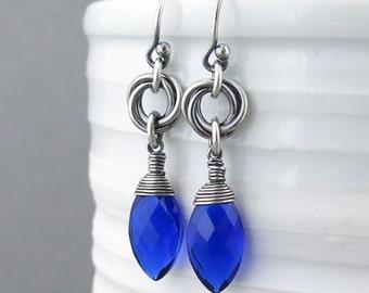 Cobalt Blue Earrings Sterling Silver Dangle Earrings Love Knot Earrings Unique Silver Earrings Bohemian Jewelry Handmade Jewelry Oxidized