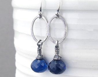 Blue Drop Earrings Sterling Silver Earrings Sapphire Earrings Blue Gemstone Earrings Minimalist Jewelry Modern Jewelry - Adorned Aubrey