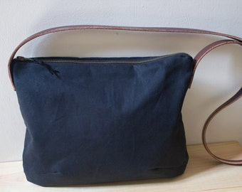 WAXED CANVAS   Cross Body Bag, Day Bag with Leather Strap - Black