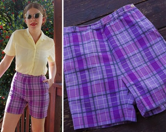 PURPLE 1950's 60's Vintage Pretty Plaid High Waist Shorts with Belt Loops // size Small // 27 Waist