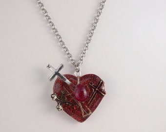Ezili Dantor Blood Drop Heart with Crosses and Pins Necklace by Ugly Shyla voodoo loa dark goddess original design