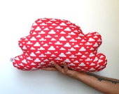 Coral Cloud Print Pillow Nursery Decor Kids Pillow Throw Pillow Cloud Cushion