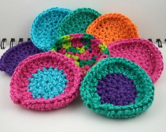 Set of 8 Cotton/Silk Blend Mini Washcloths in Rainbow Colors