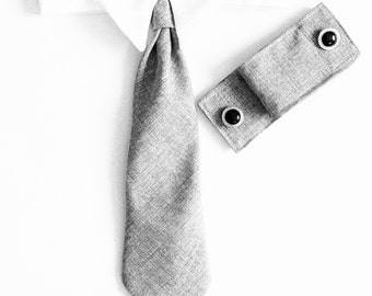 Neck Tie and Cuff set :Light Linen GrayDog Formal Wear Dog Tuxedo, Dog Wedding Accessories & Apparel tie and cuff set