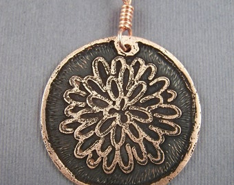 Chrysanthemum Copper Circle Pendant