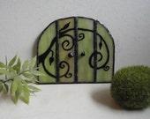 SALE, Fairy Door, Garden Sculpture, Outdoor Garden Art, Indoor Home Decor, Stained Glass, Fairy Garden Accessories, Terrarium Decor, Green