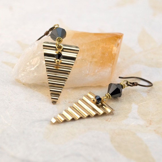 Gold Triangle Earrings, Gifted Collection, Brass, Corrugated, Industrial, wire wrap, Black Swarovski Crystal, Glam, Modern, Niobium