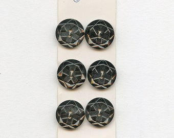 Carved Art Deco Dress Buttons Set of (6) Matching BLACK Plastic on Original Card 7/8 inch size 1439 MORE AVAILABLE