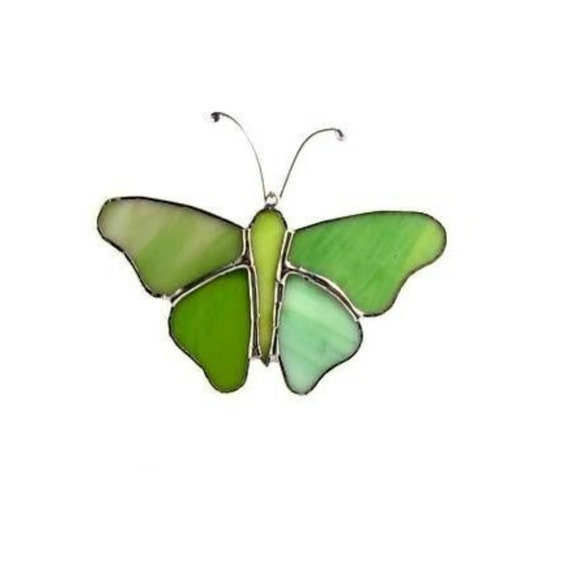 Green Butterfly Mobile - Stain Glass Suncatcher
