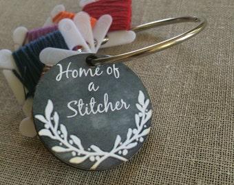 Home of a Stitcher chalk art style bobbin organizer floss holder decorative thread ring