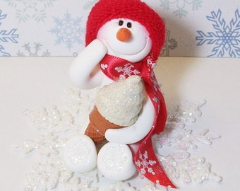 Not hot chocolate, ice cream please. Snowman ornament or table top decoration in red and white