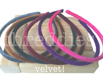 velvet headbands // 5 skinny velvet headbands, pick your colors, alice bands