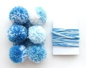 6 Pompoms + Yarn for Gift Wrapping, Blue & White (F)