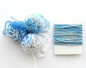 3 Pompoms + Yarn for Gift Wrapping, Blue, White, Grey (J)