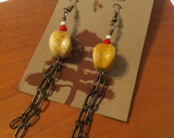 Ivory Stone Chain Earrings Red & White Beads