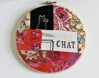 Chat, Hoop Art, cerceau mural, Bouche cousue, screenprint ,cat, floral, pink, black and white, decor, yellow, orange