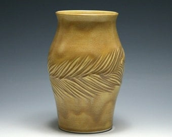 Dark Yellow Pottery Vase with Pine Bough Carving