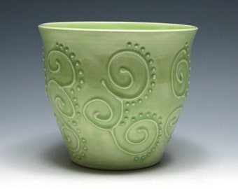 Pale Green Bowl with Swirls and Dots