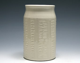 White Pottery Vase with Carved Lines