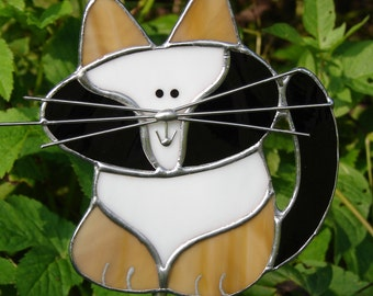 Adorable Calico Cat Stained Glass Garden Stake