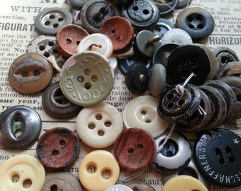Shabby Antique Metal Glass Leather and Other Buttons