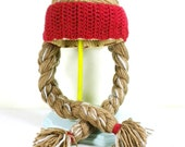 Crochet Willie Nelson Hat - Beanie with Long Brown Braids and Red Bandana - Halloween Costume Hat