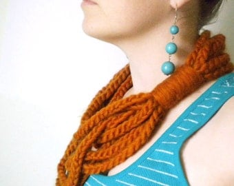 Crochet Infinity Scarf in Persimmon Orange - Winter Chain Scarf Infinity Scarves for Women