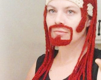 Crochet Metalocalypse Pickles Hat - Combover Skullet Hat with Long Red Braids and Attached Goatee