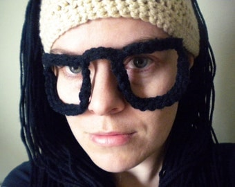 "Crochet Skrillex Hat - Pale Tan Beanie with Long Black Hair and ""Shaved"" Side with Crochet Glasses"