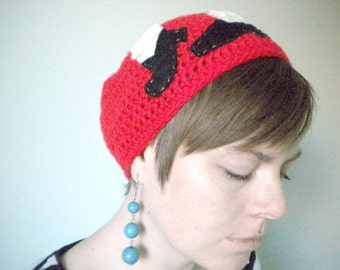 Crochet Beanie with Moonwalking Shoes in Red - Michael Jackson hat - crochet hats for men - crochet hats for women